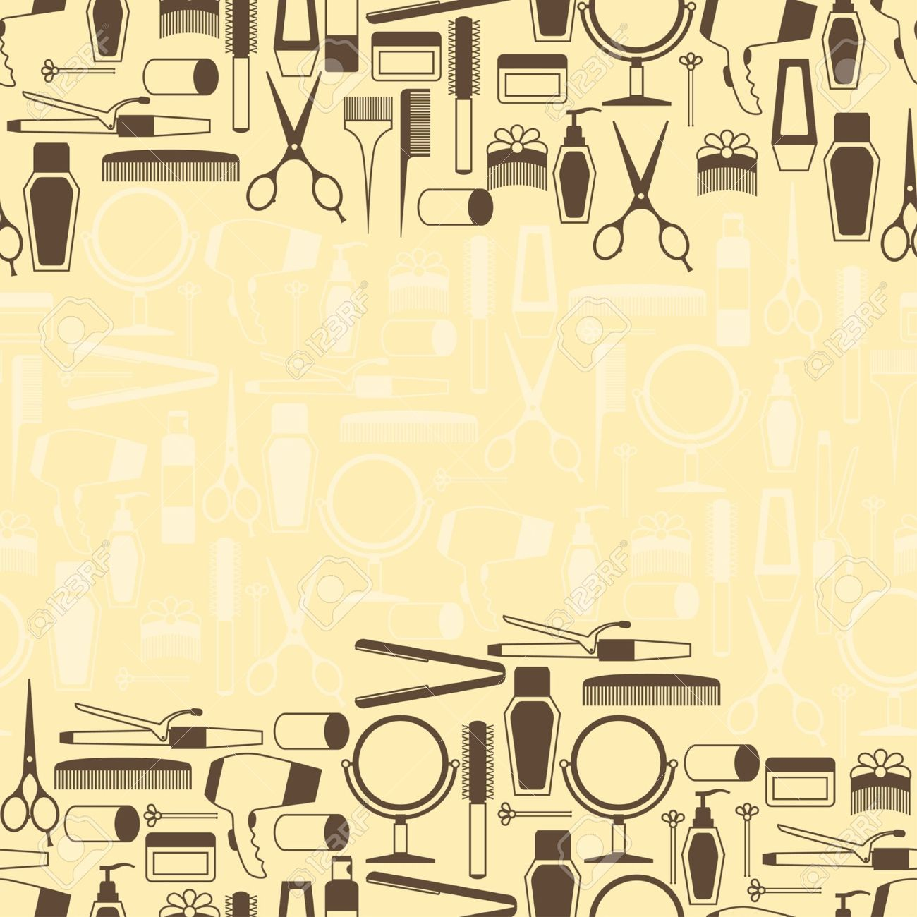 hairdressing tools seamless pattern in retro style royalty free
