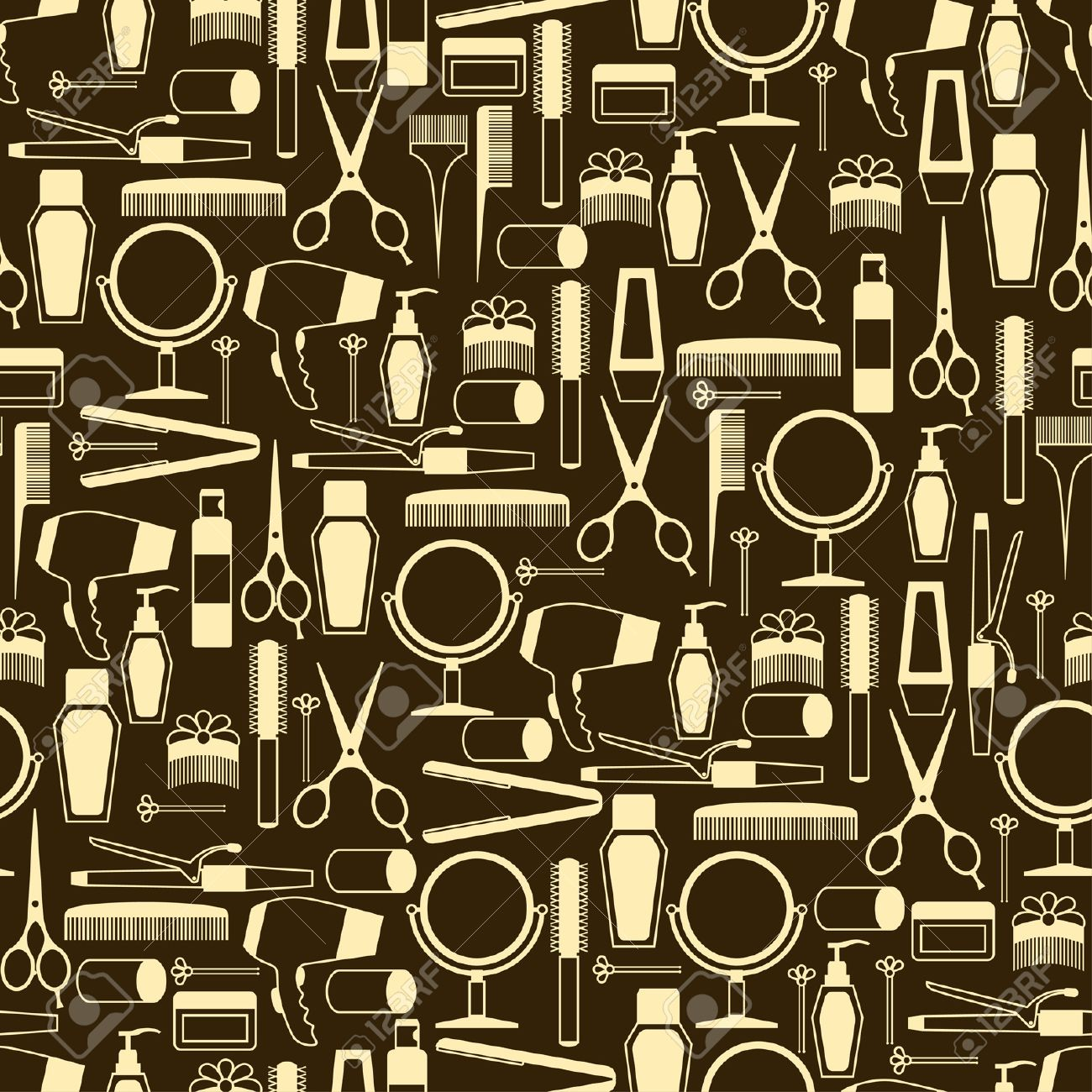 Hairdressing tools seamless pattern in retro style. Stock Vector - 21535689