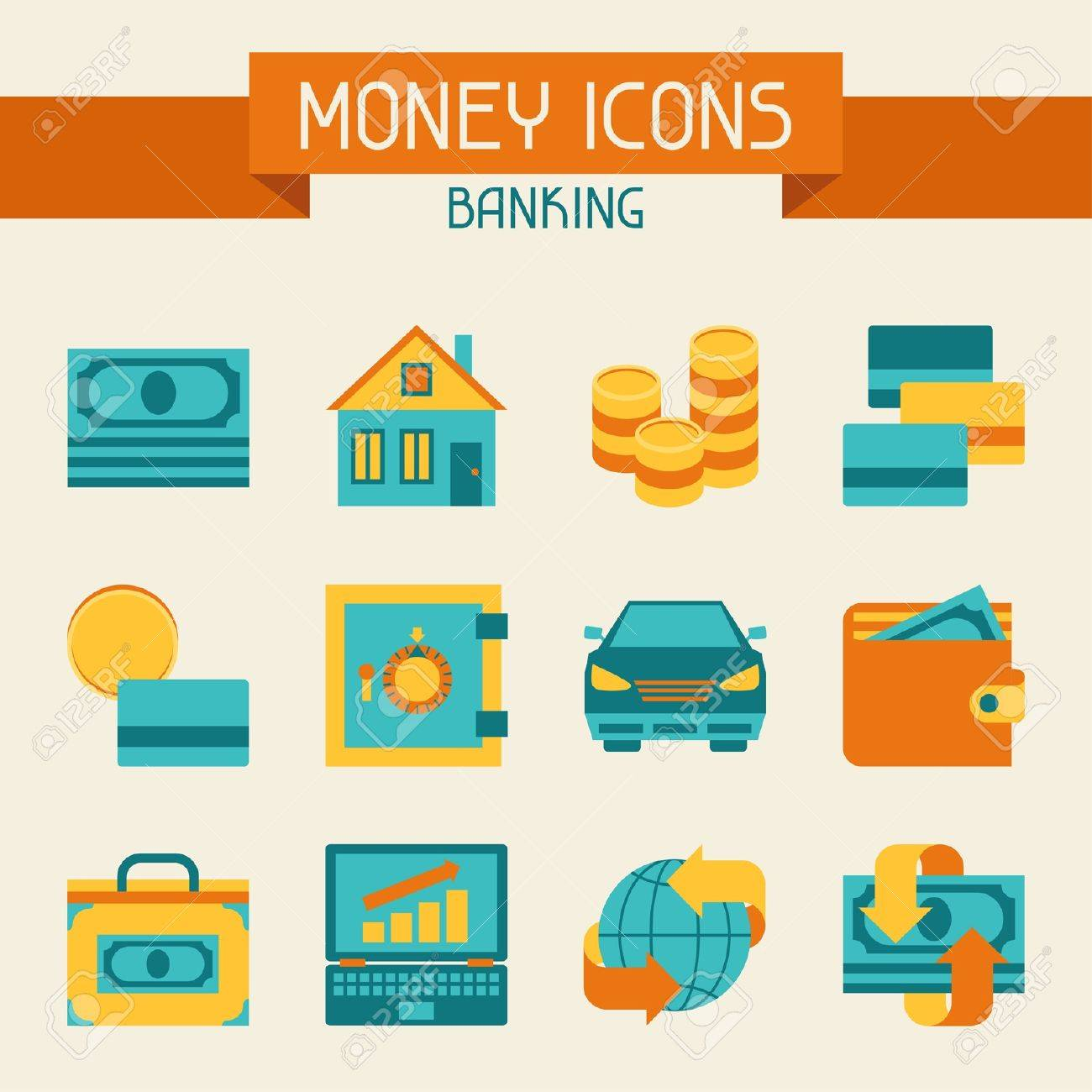 Set of money and banking icons. Stock Vector - 21535744