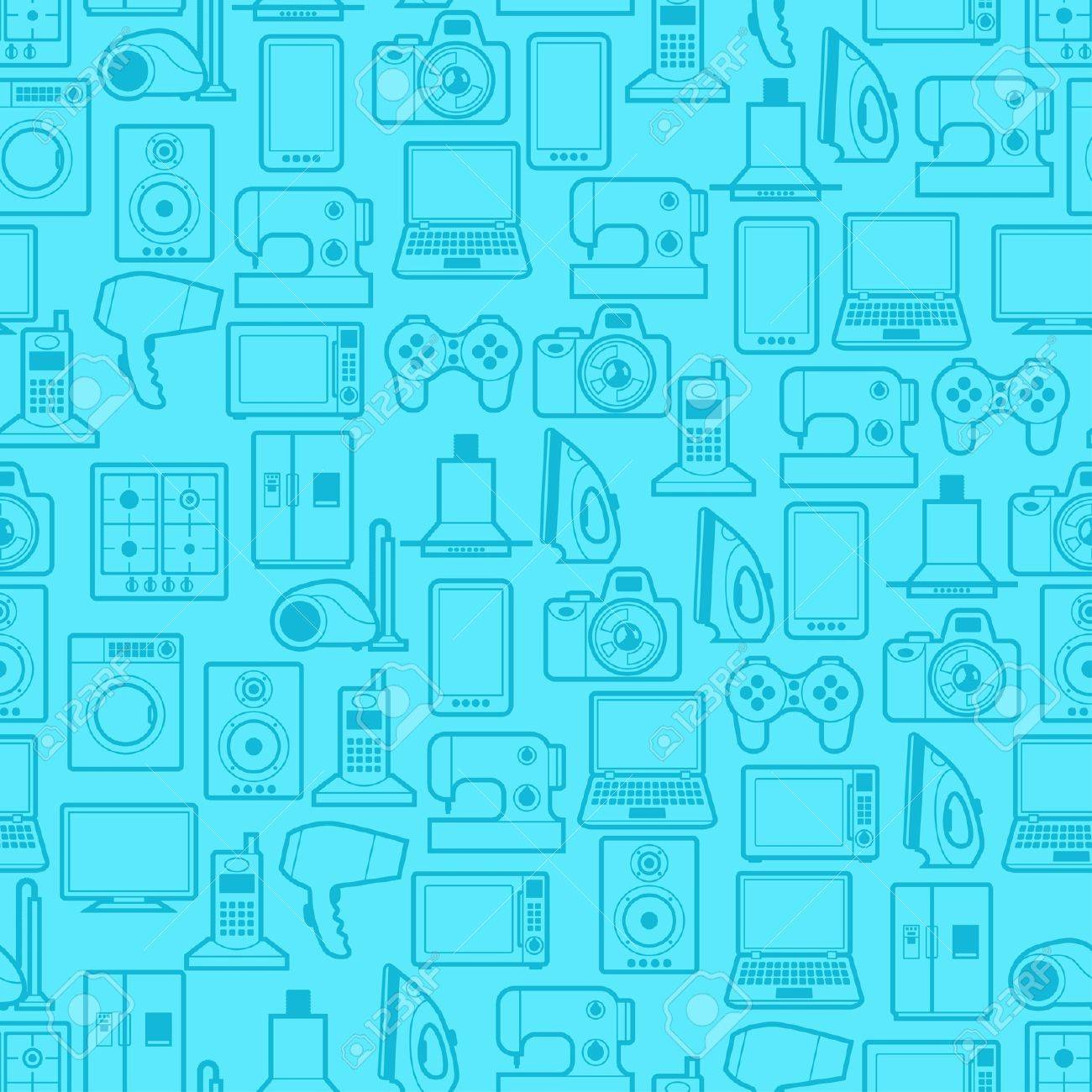 Home appliances and electronics seamless patterns. Stock Vector - 21701621