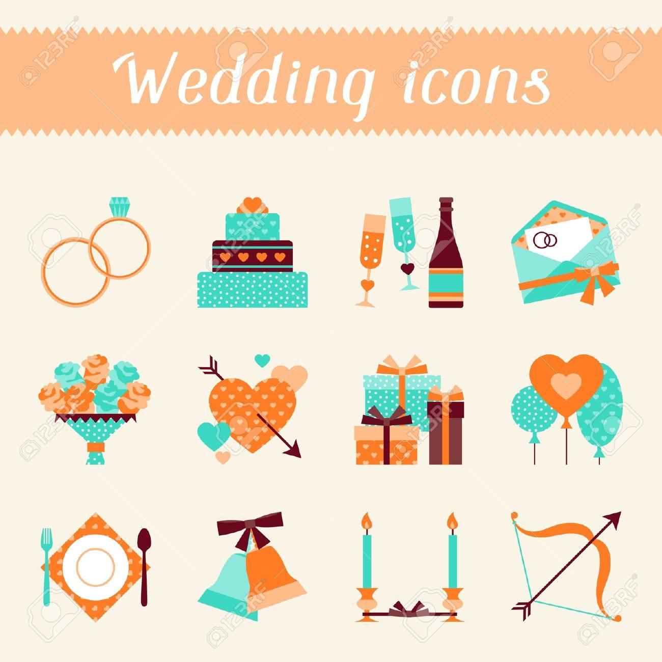 conjunto de iconos de boda retro y elementos de diseo foto de archivo with de boda retro
