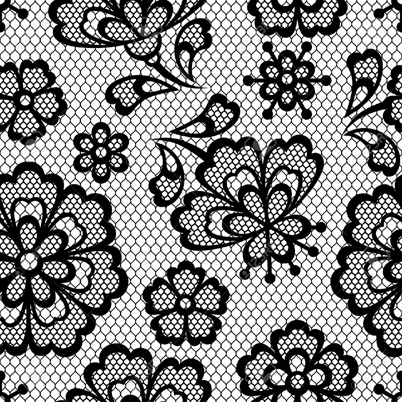 Old lace seamless pattern, ornamental flowers. Vector texture. - 22070919