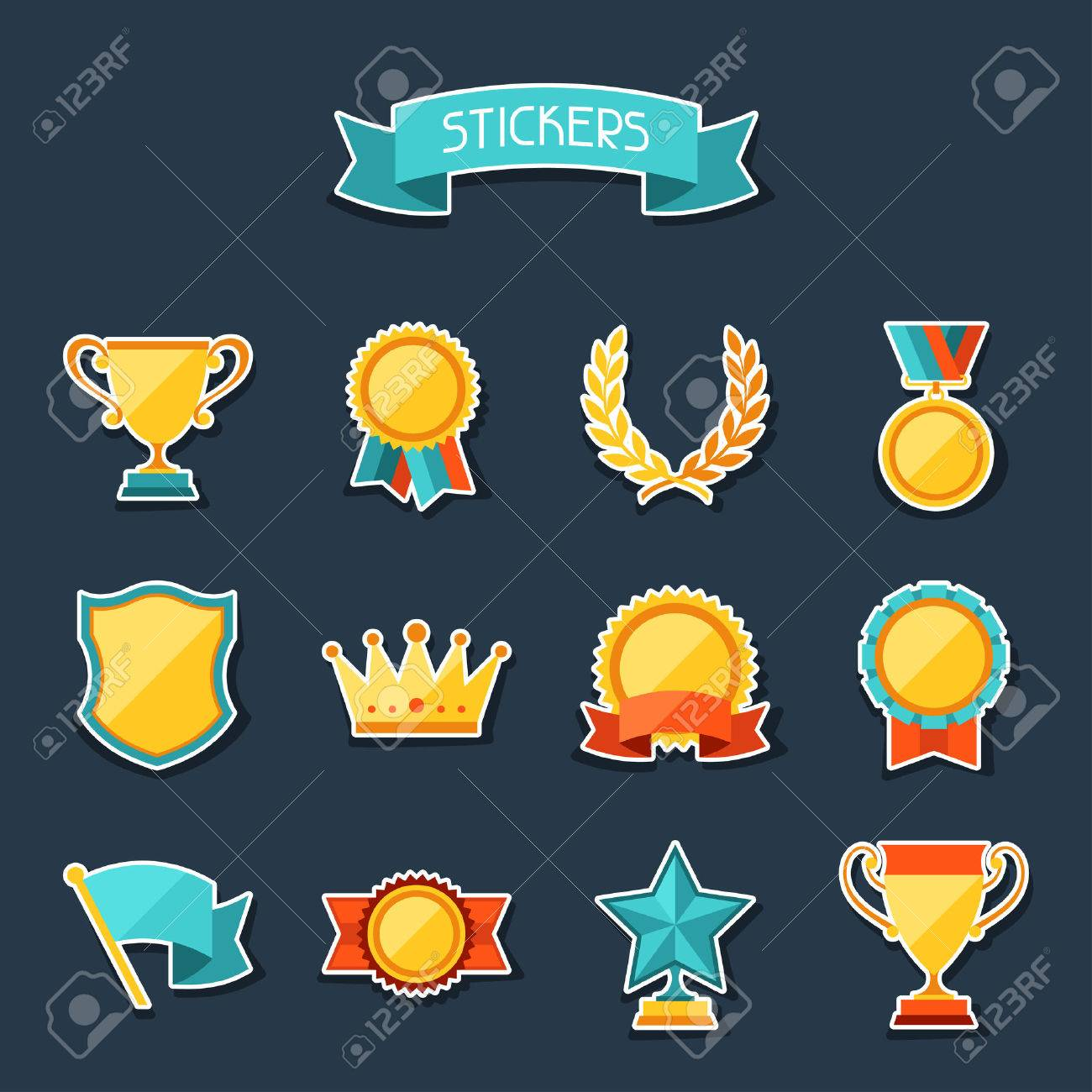 Trophy and awards stickers set. Stock Vector - 22594444