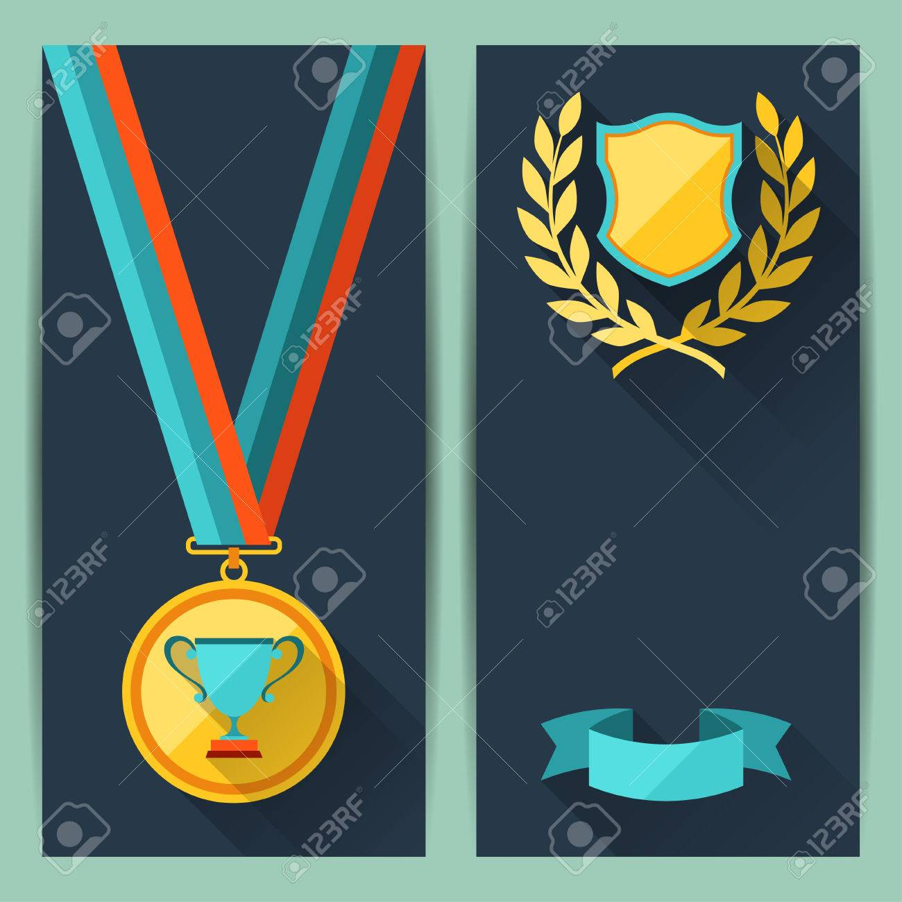 Certificate Templates With Trophies And Awards. Royalty Free ...