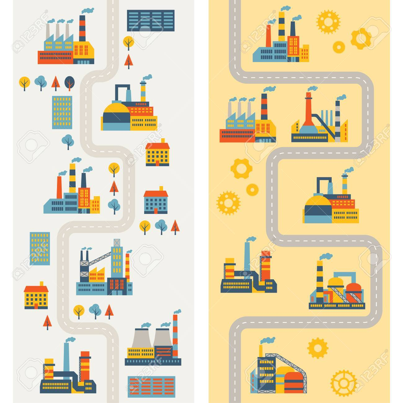 Industrial factory buildings vertical banners. Stock Vector - 22726663