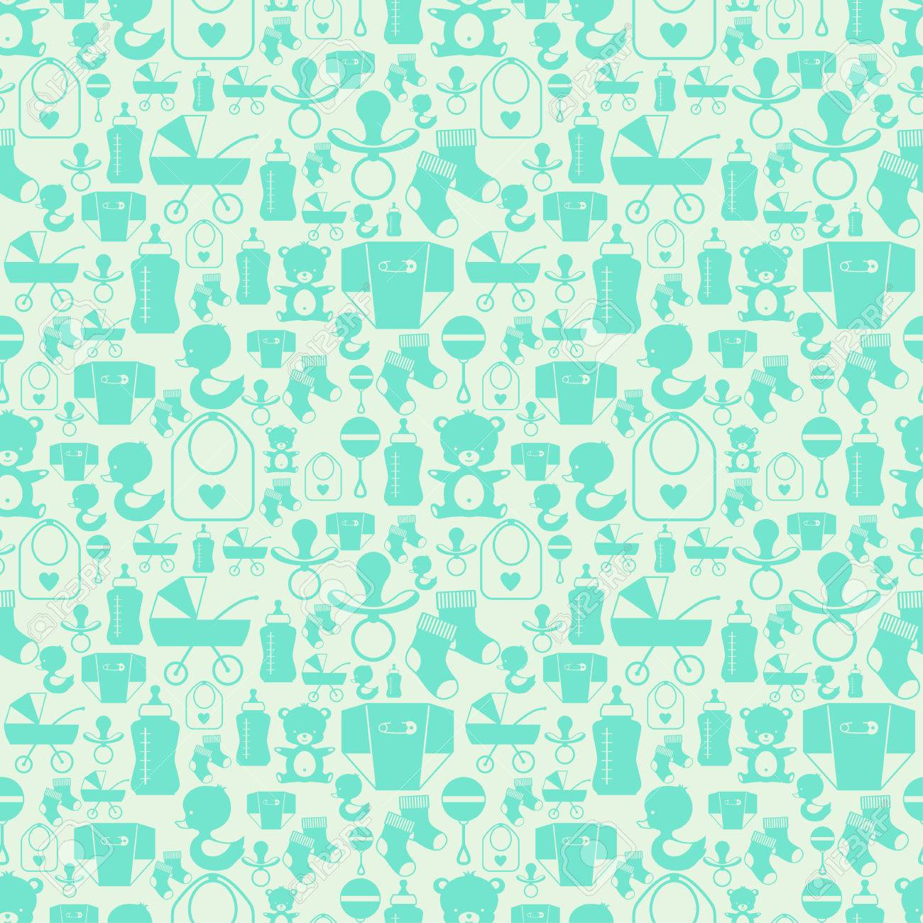 Seamless pattern with newborn baby icons. - 22895937