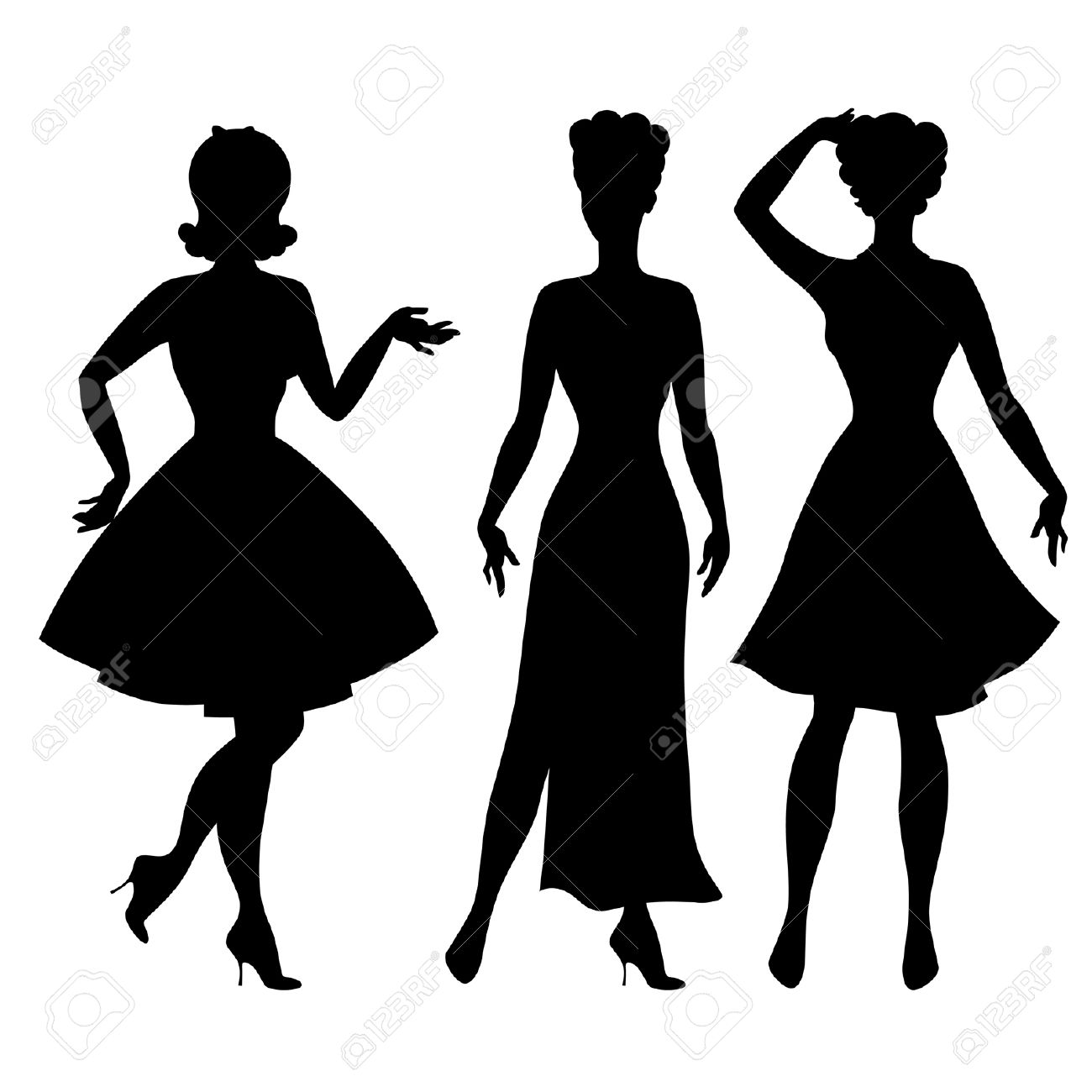 Silhouettes Of Beautiful Pin Up Girls 1950s Style. Royalty Free ...