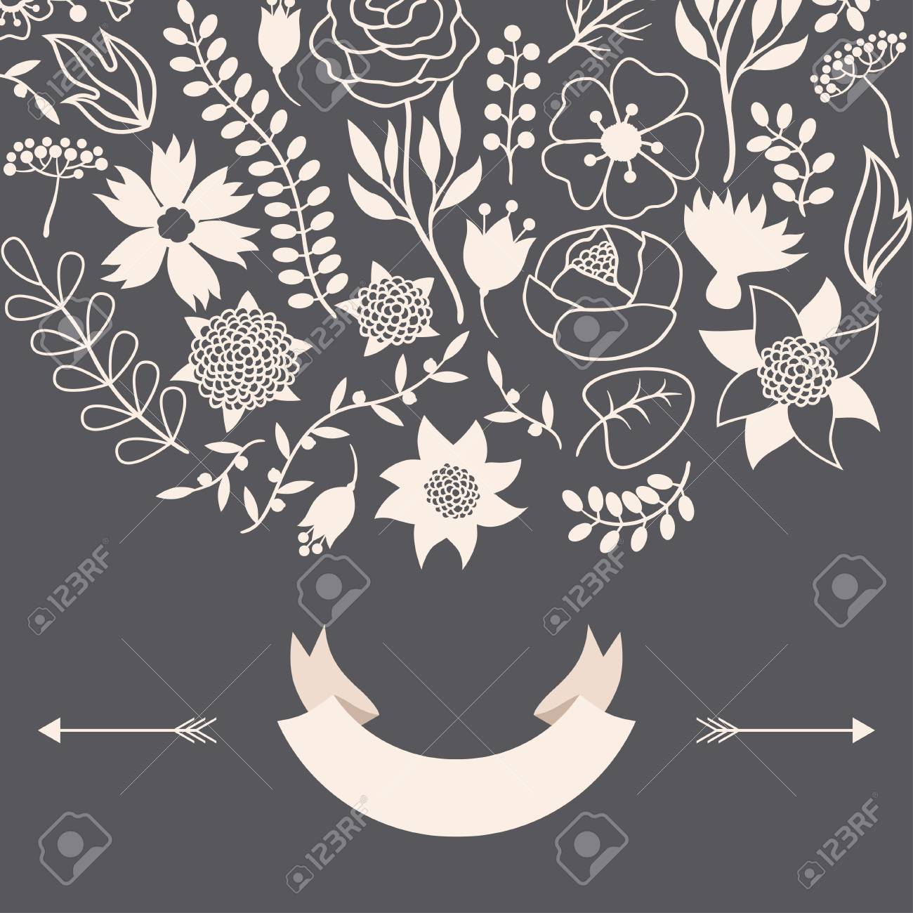 Romantic background of various flowers in retro style. Stock Vector - 24155562
