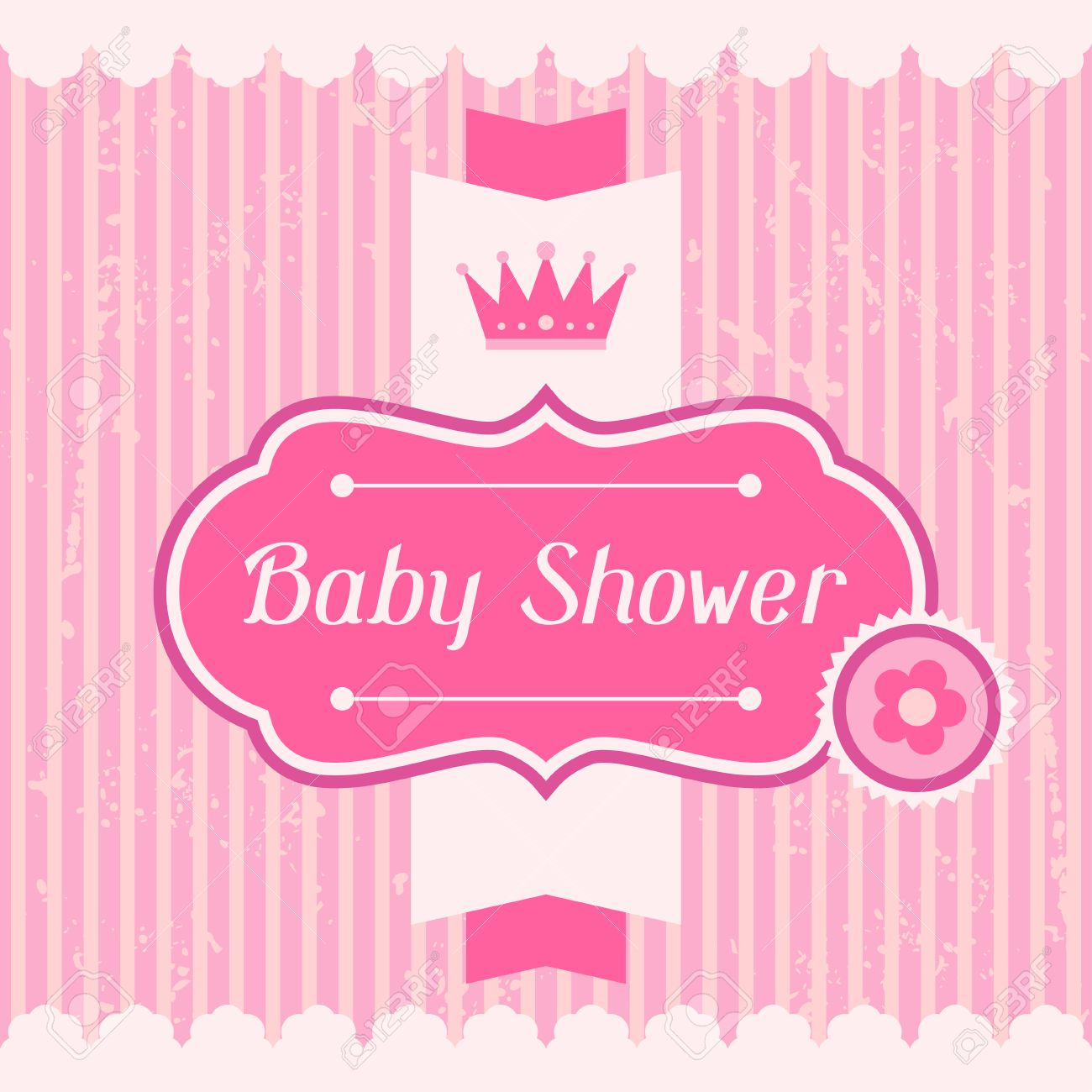 Girl Baby Shower Invitation Card. Stock Vector   24532213