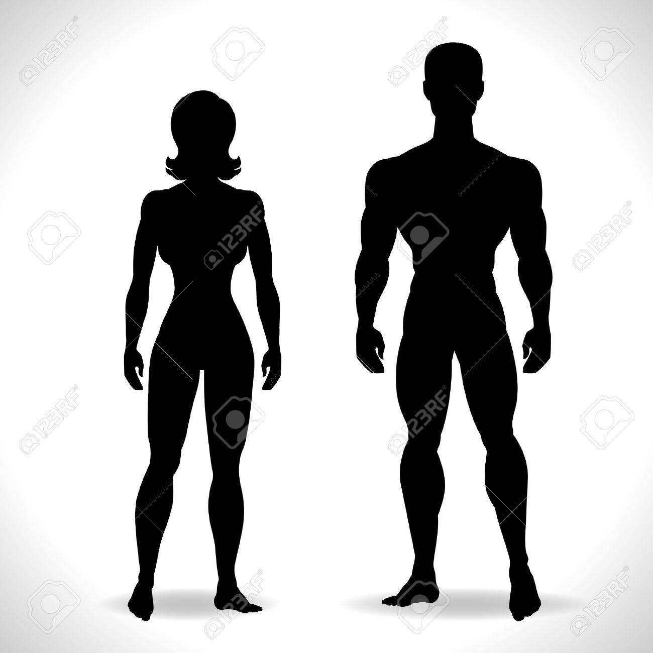 Silhouettes of man and woman in black color. - 24991471