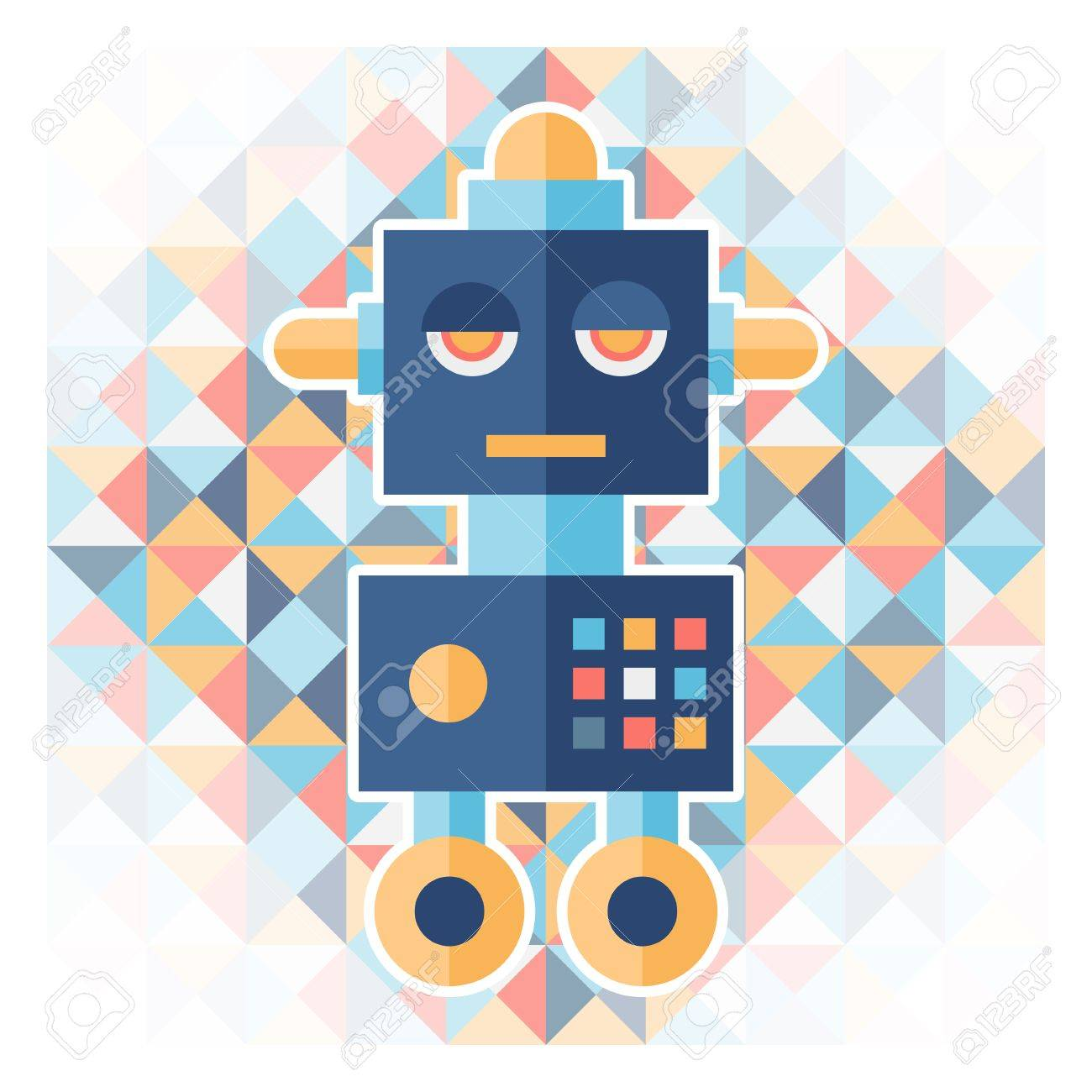 Geometric background with robot. Stock Vector - 26668575