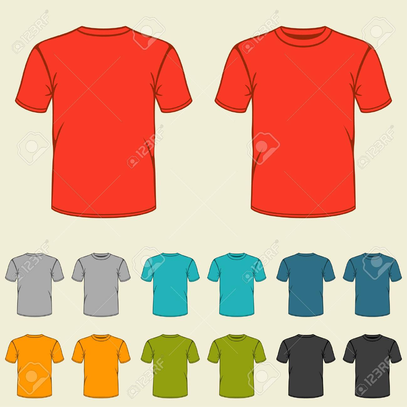 Set Of Templates Colored T-shirts For Men. Royalty Free Cliparts ...