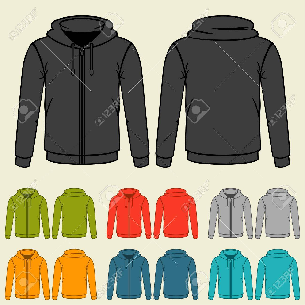 Set Of Templates Colored Sweatshirts For Men. Royalty Free Cliparts ...