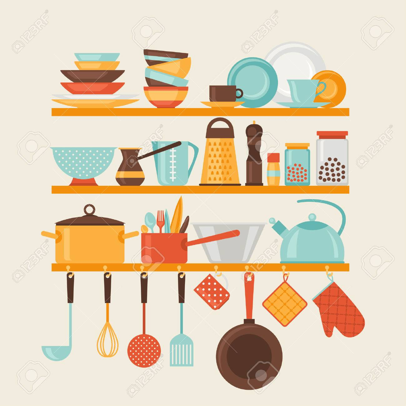Card with kitchen shelves and cooking utensils in retro style - 30170843
