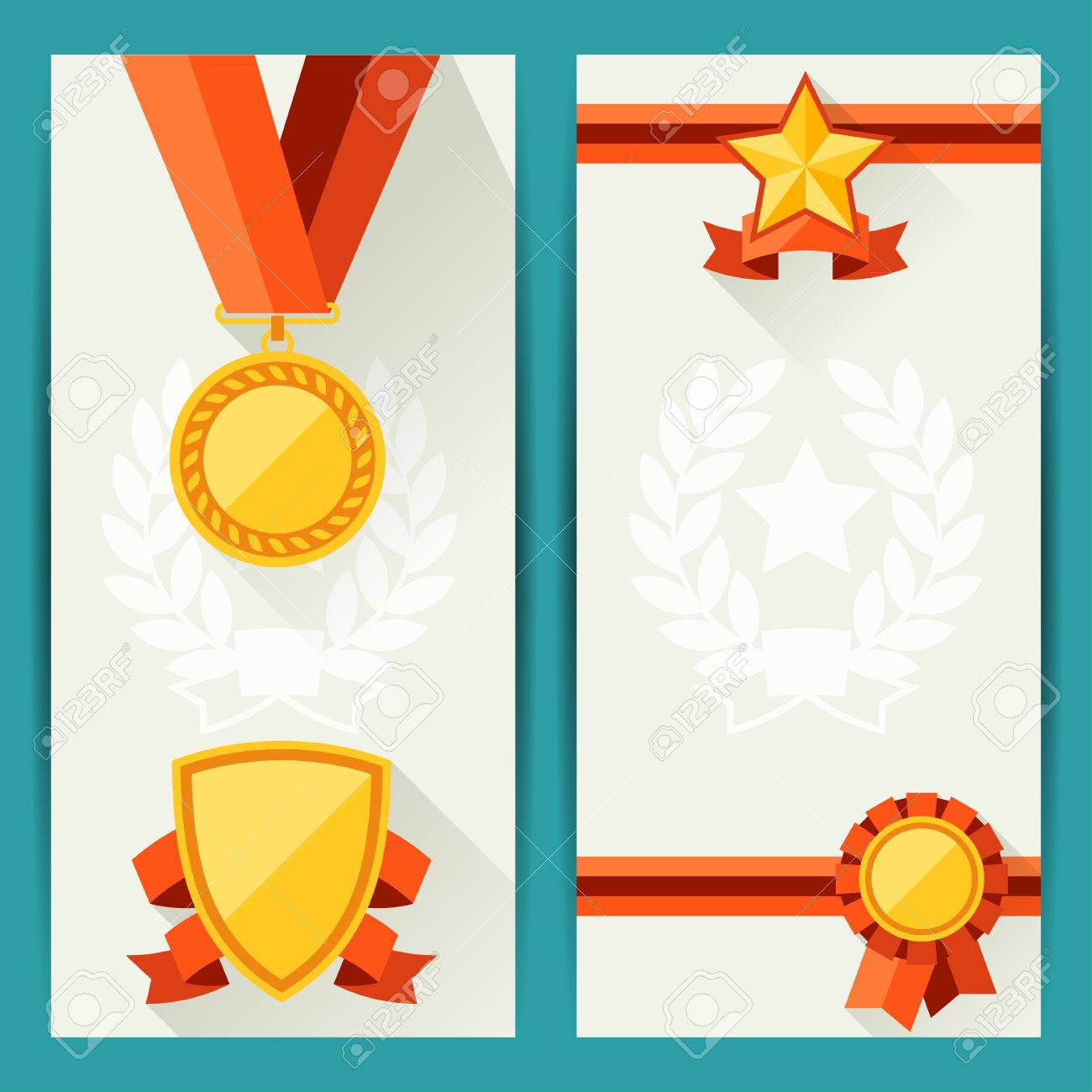 Certificate Templates With Awards In Flat Design Style Royalty Free ...