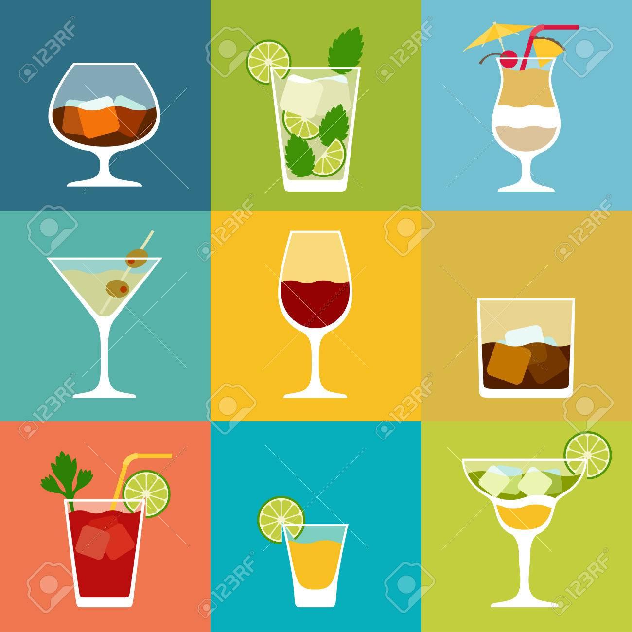 Alkohol Getränke Und Cocktails Symbol Im Flachen Design-Stil Gesetzt ...