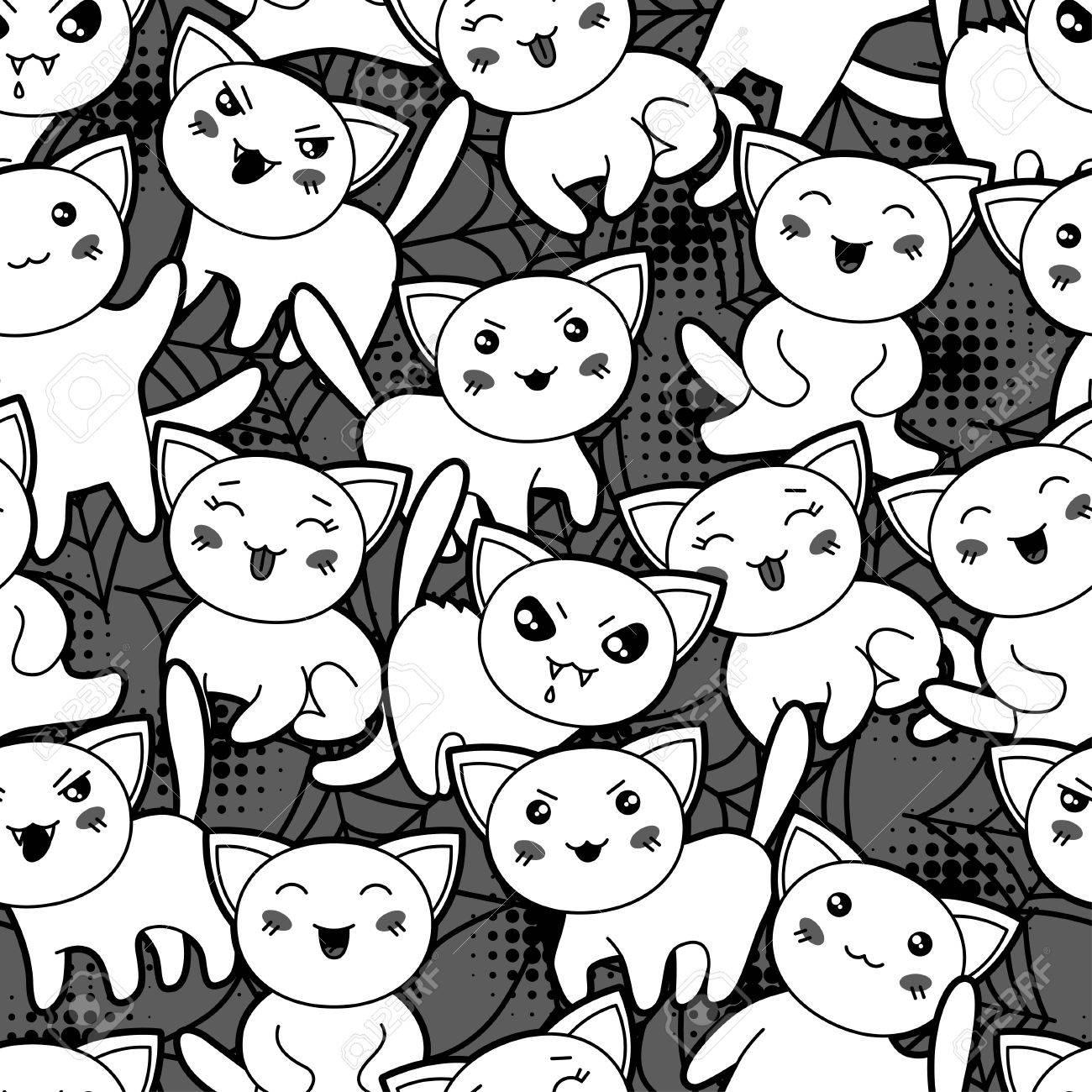 Modele De Dessin Anime Seamless Halloween Kawaii Avec Les Chats Mignons Clip Art Libres De Droits Vecteurs Et Illustration Image 30641401