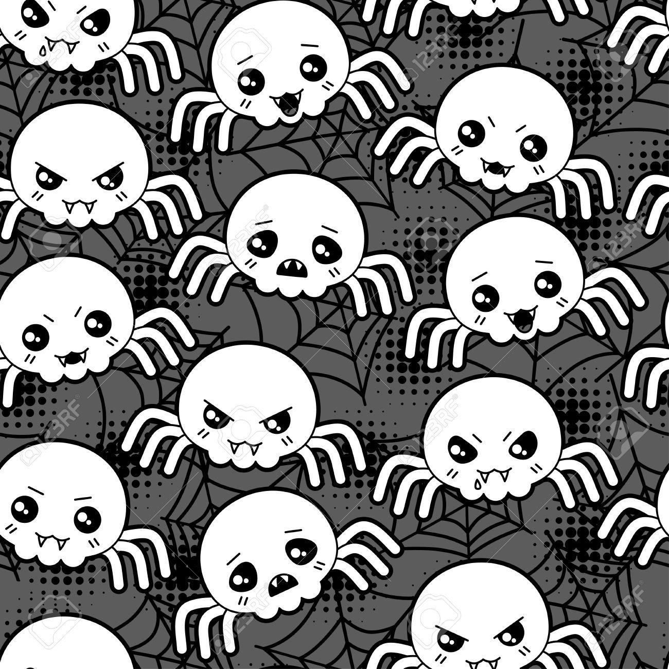Modele De Dessin Anime Seamless Halloween Kawaii Avec Les Araignees Mignon Clip Art Libres De Droits Vecteurs Et Illustration Image 30641480