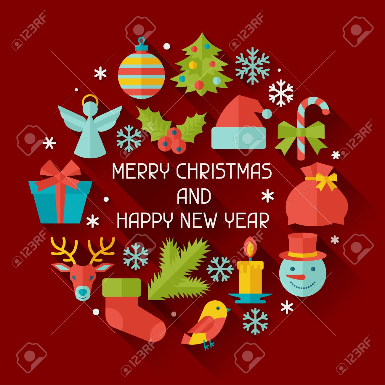 merry christmas and happy new year invitation card stock vector 33679640