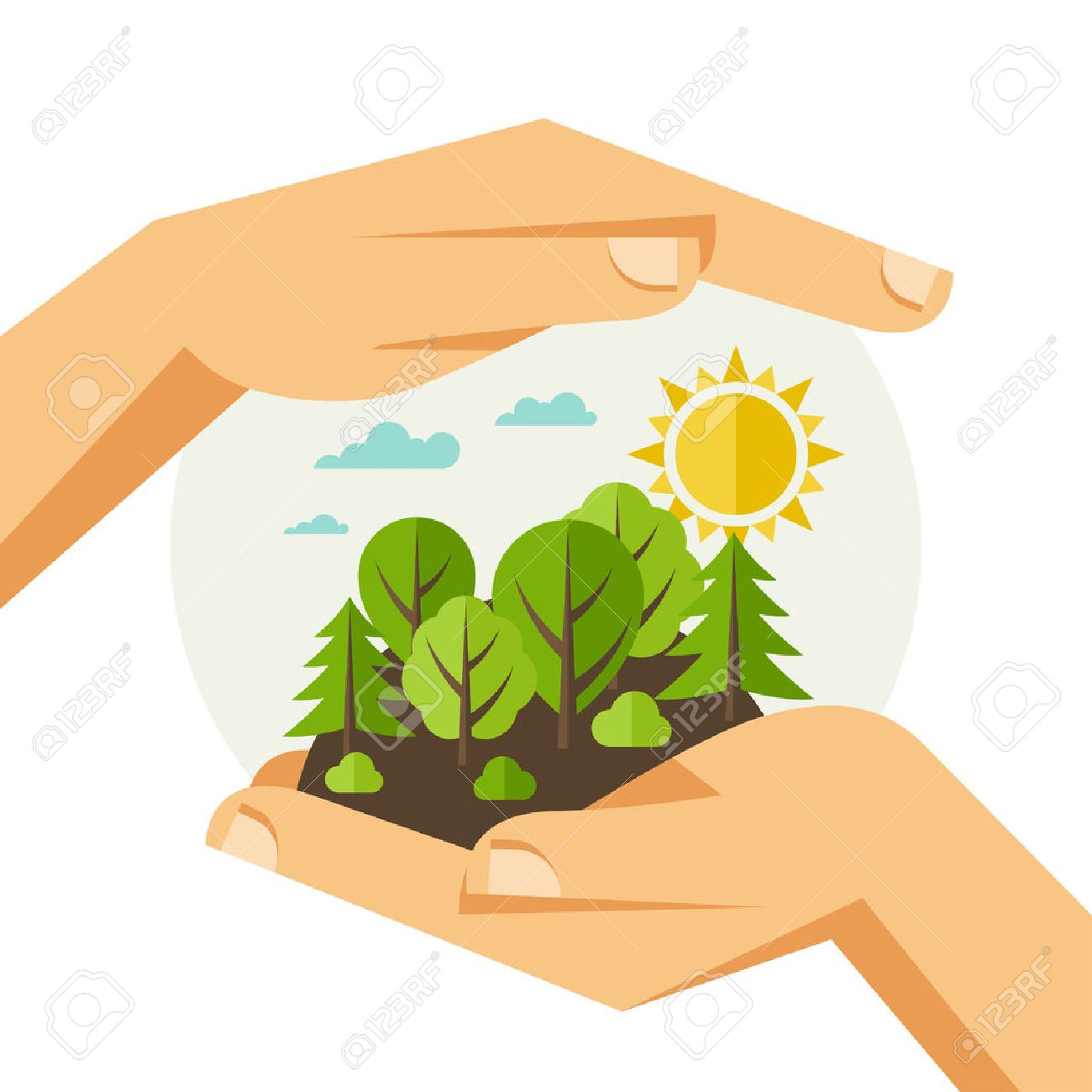 Environmental protection, ecology concept illustration in flat style. - 35135773