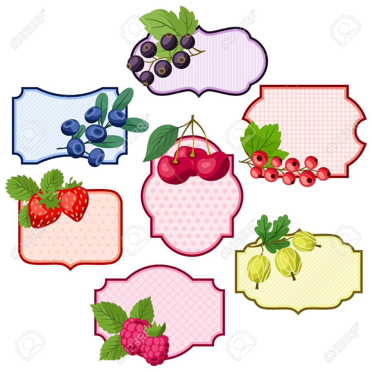 Set of various badges, labels with berries. - 35329026