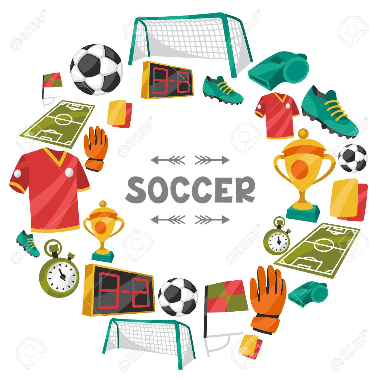 Sports background with soccer football symbols. - 36803115