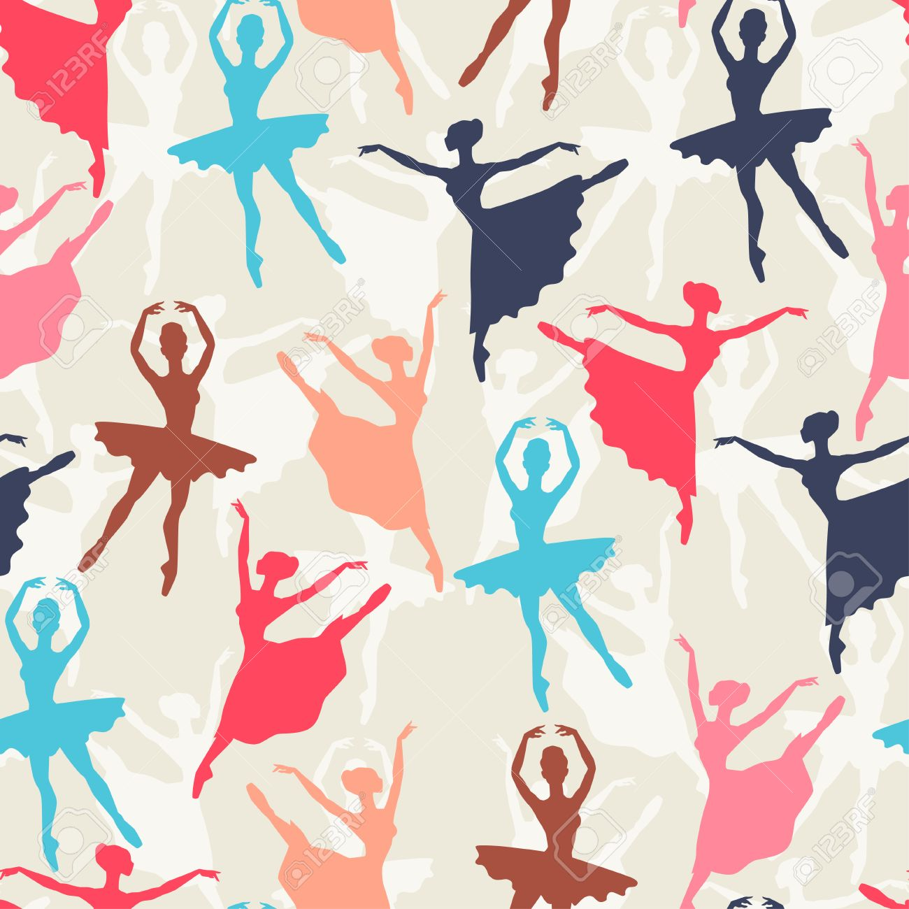 Seamless pattern of ballet dancers royalty free stock photography - Seamless Pattern Of Ballerinas Silhouettes In Dance Poses Stock Vector 40925034