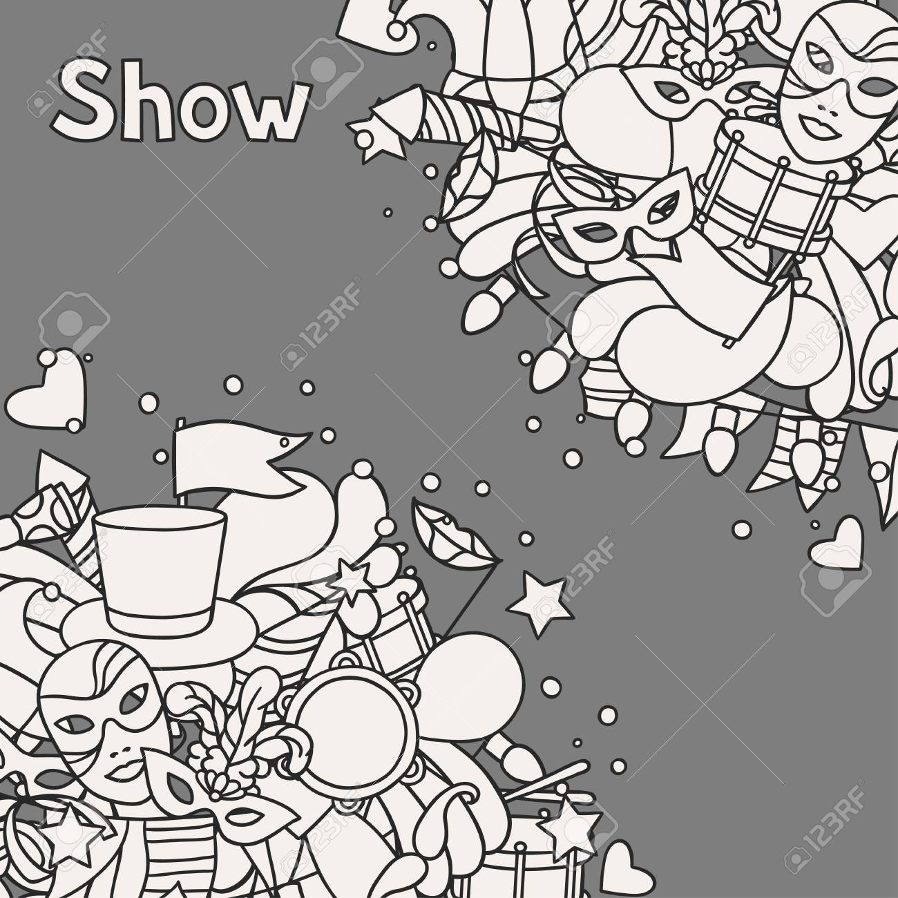 Carnival Show Background With Doodle Icons And Objects  Royalty Free