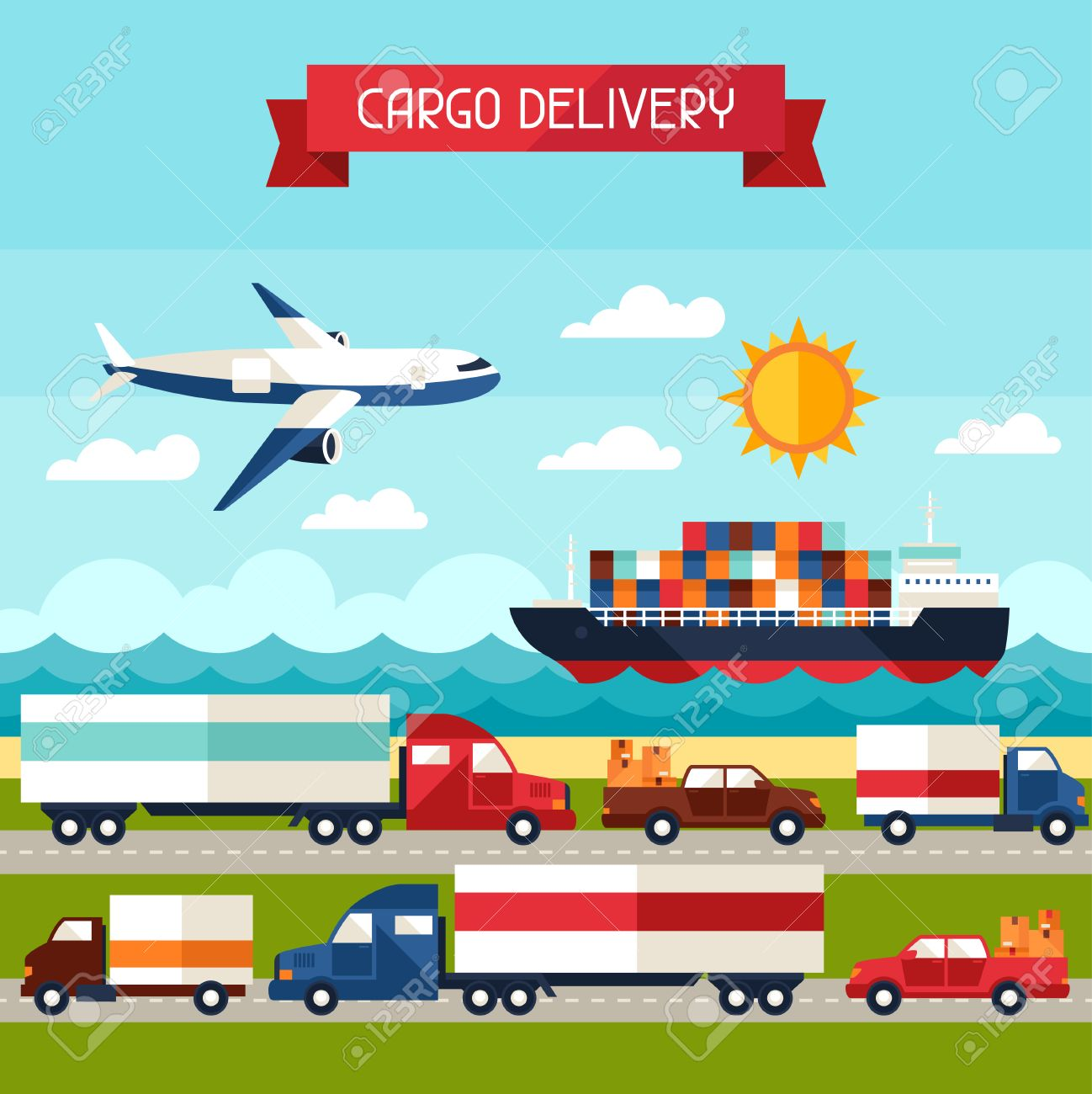 Freight cargo transport background in flat design style. Stock Vector - 44348960