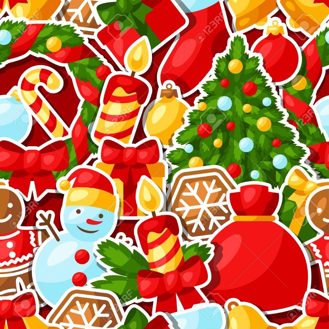 Adesivi Buon Natale.Buon Natale E Felice Anno Nuovo Adesivo Modello Senza Soluzione Di Continuita