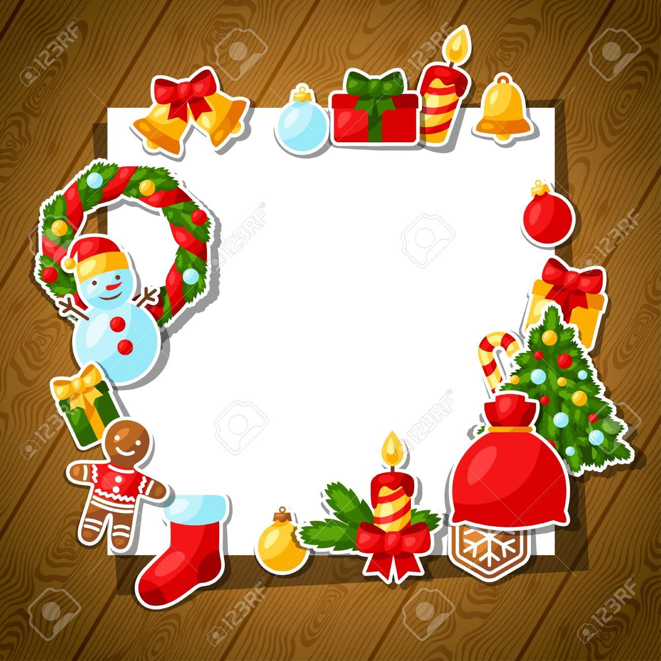 Feliz Navidad Y Feliz Año Nuevo Plantilla De La Pegatina De La Tarjeta De Invitación