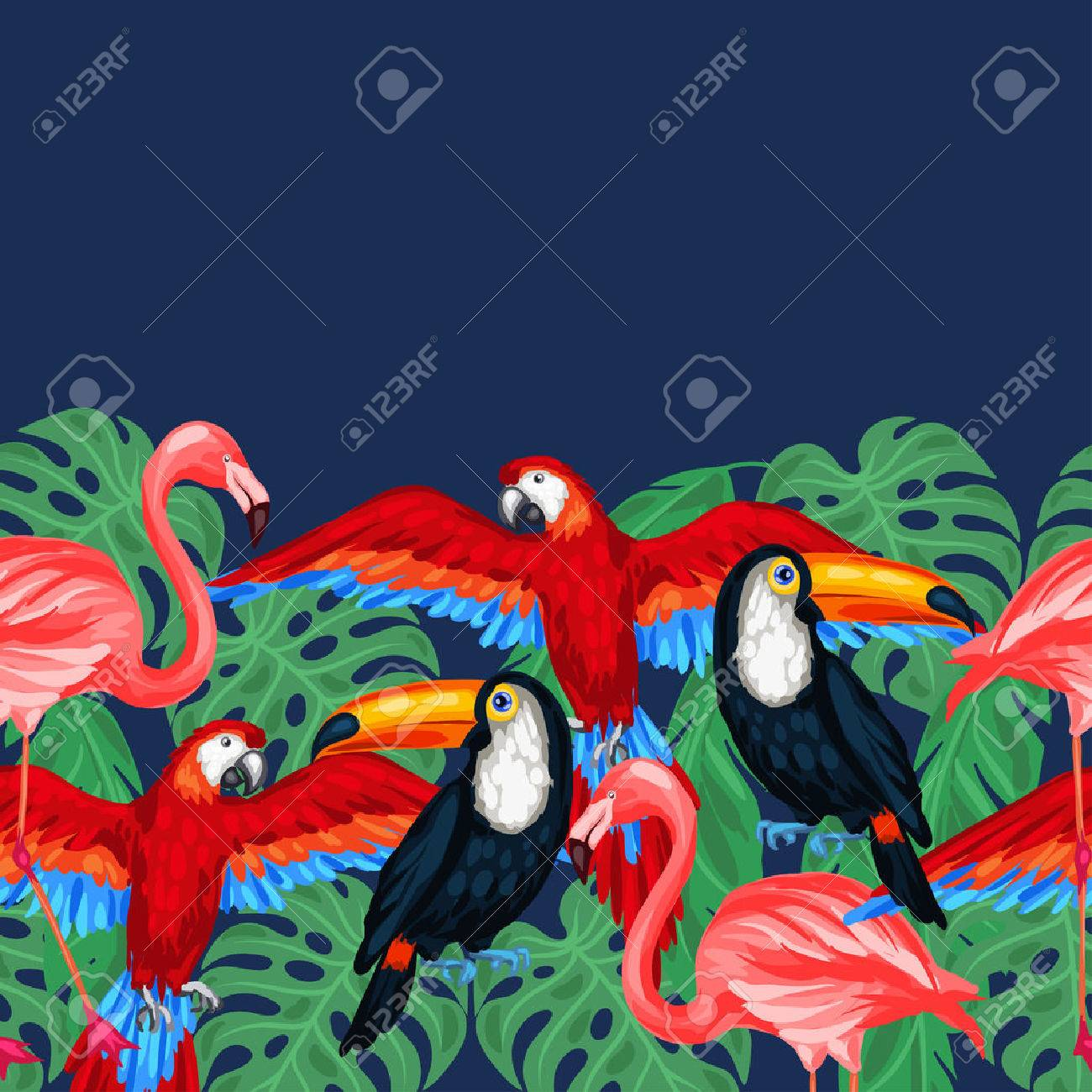 Tropical birds seamless pattern with palm leaves. Stock Vector - 47864951