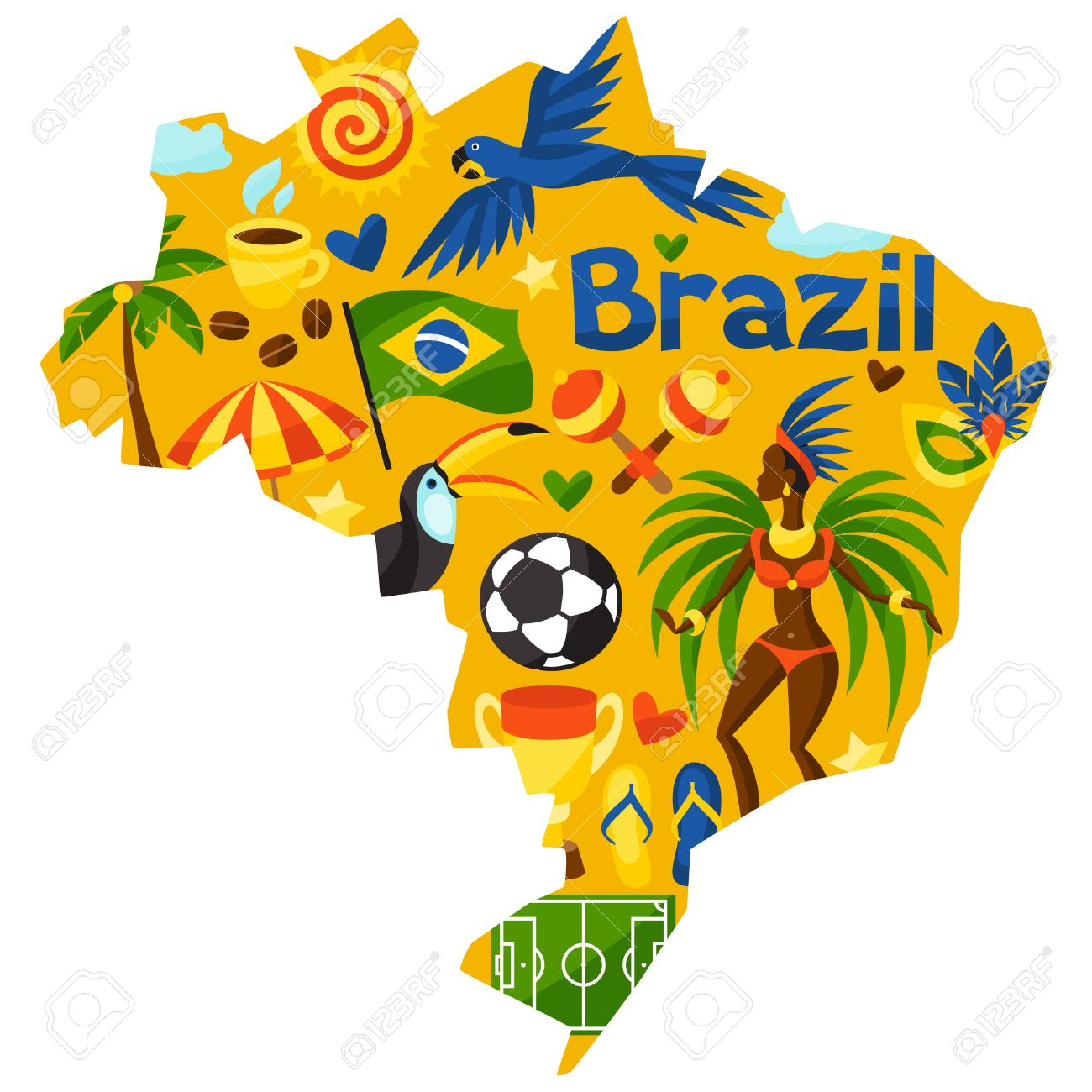 Brazil Map With Stylized Objects And Cultural Symbols Royalty - Brazil map