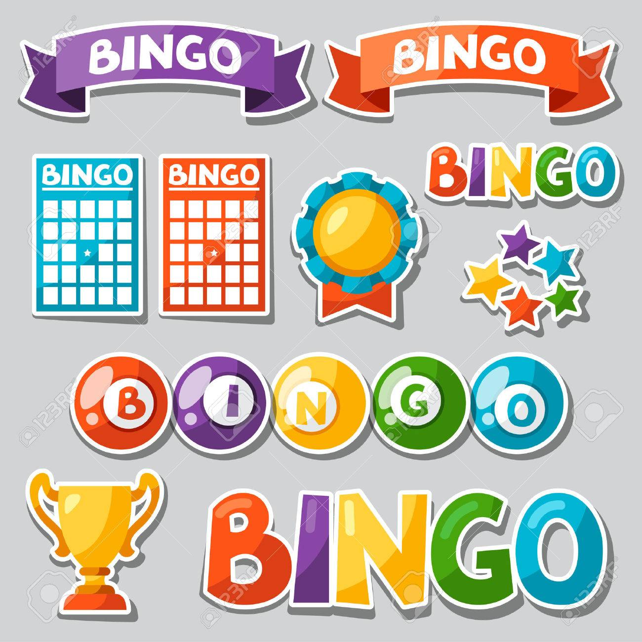 Set of bingo or lottery game with balls and cards. - 48491134