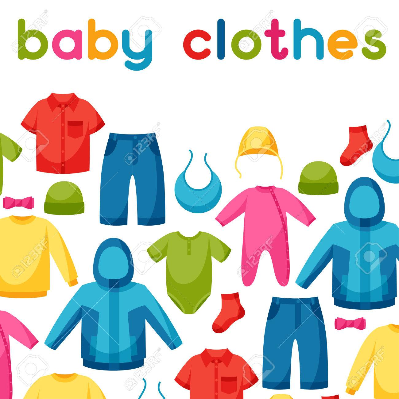 c0a677972a946 Baby clothes. Background with clothing items for newborns and children.  Stock Vector - 48998813