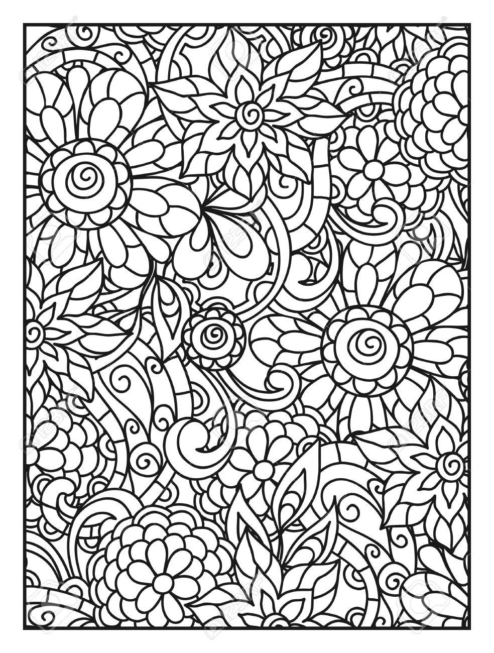 Fondo Con Las Flores De Línea Para Imprimir La Página Para Colorear ...