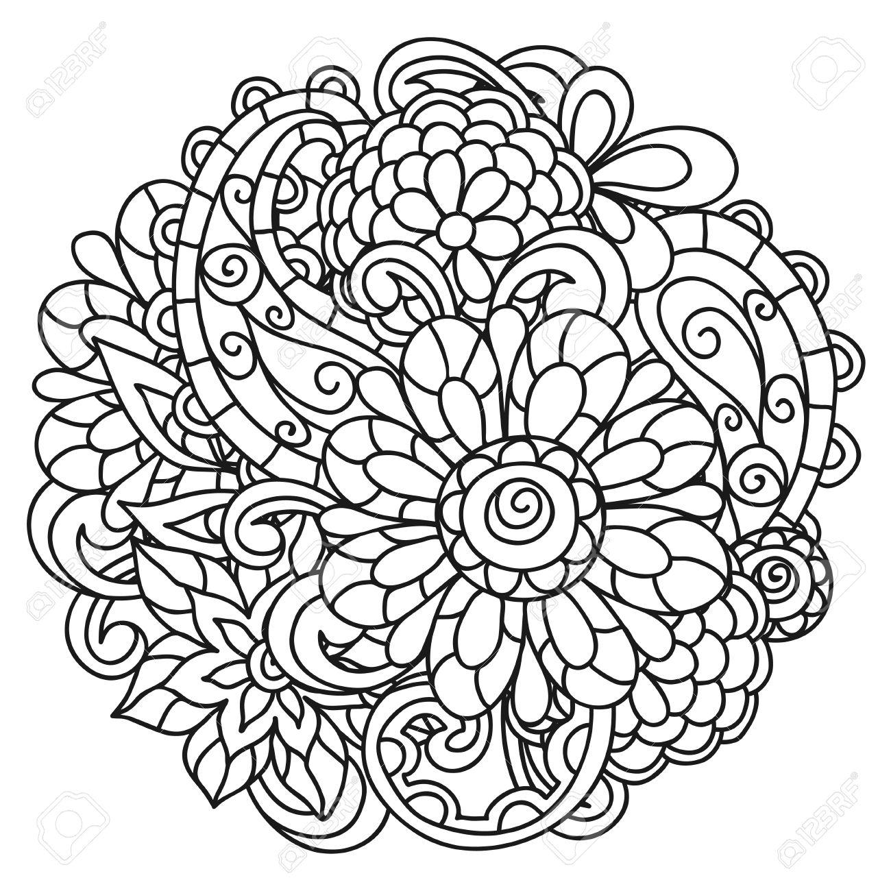 Arriere Plan Avec Des Fleurs En Ligne Pour Adultes Impression Coloriage Et De Dessin Clip Art Libres De Droits Vecteurs Et Illustration Image 50663549