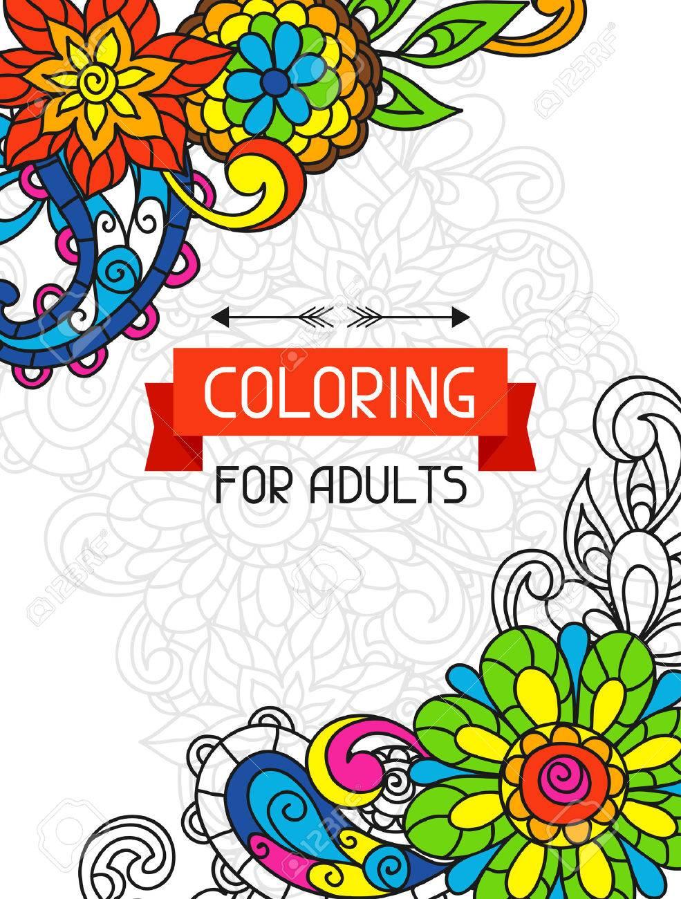 El Diseño De Libros Para Colorear De Adultos Para La Cubierta ...