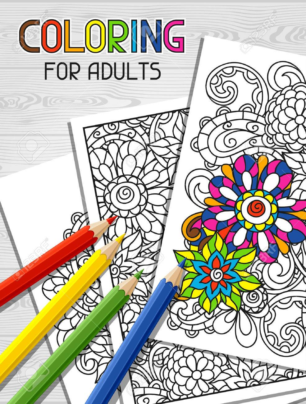 Adult coloring book design for cover. Illustration of trend item to relieve stress and creativity. - 50663555