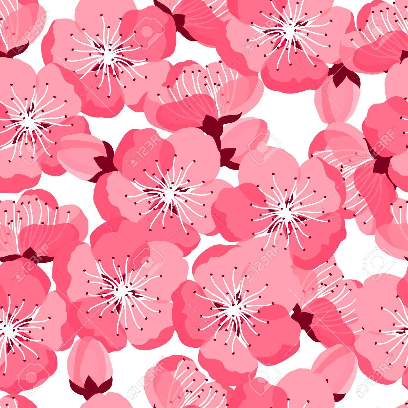 Vettoriale Sakura Seamless Giapponese Con Fiori Stilizzati Sfondo