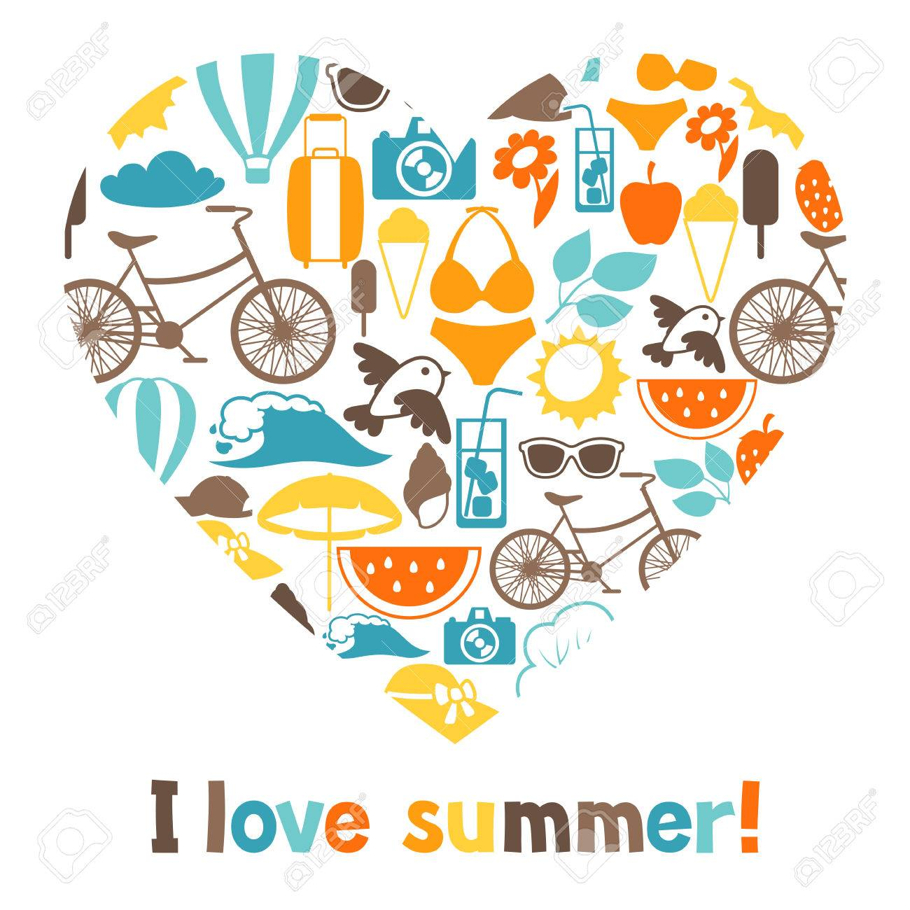Background With Stylized Summer Objects. Design For Cards, Covers,  Brochures And Advertising Booklets