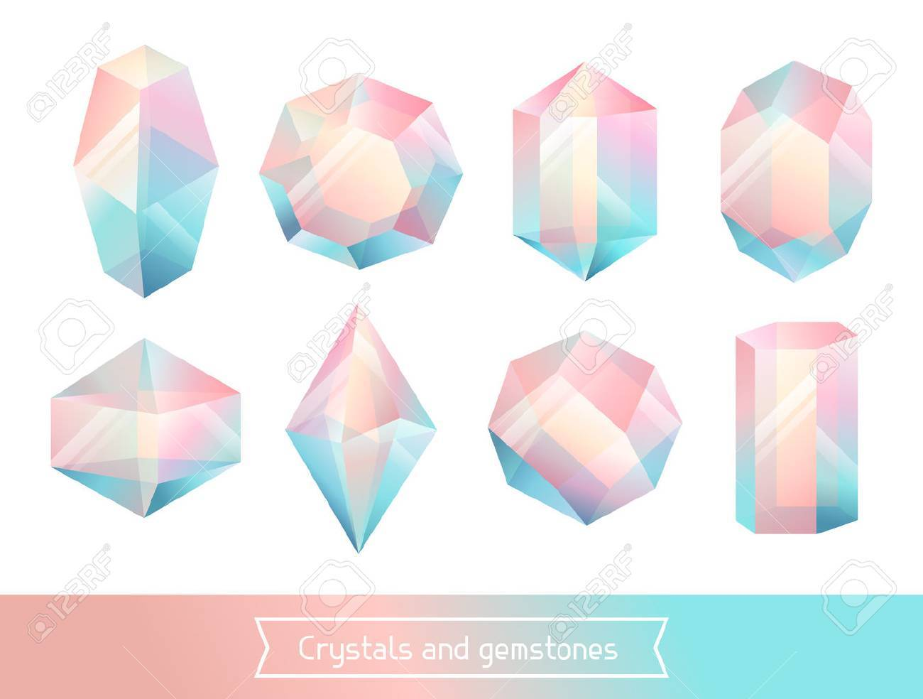 Set of geometric crystals gem and minerals. - 55229680