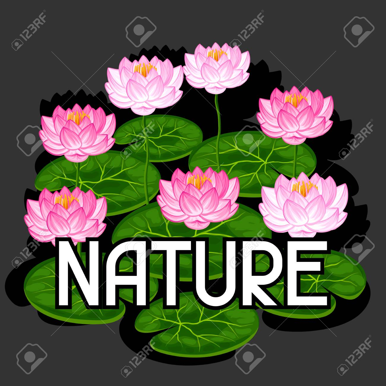 Natural Background With Lotus Flowers And Leaves Image For Design