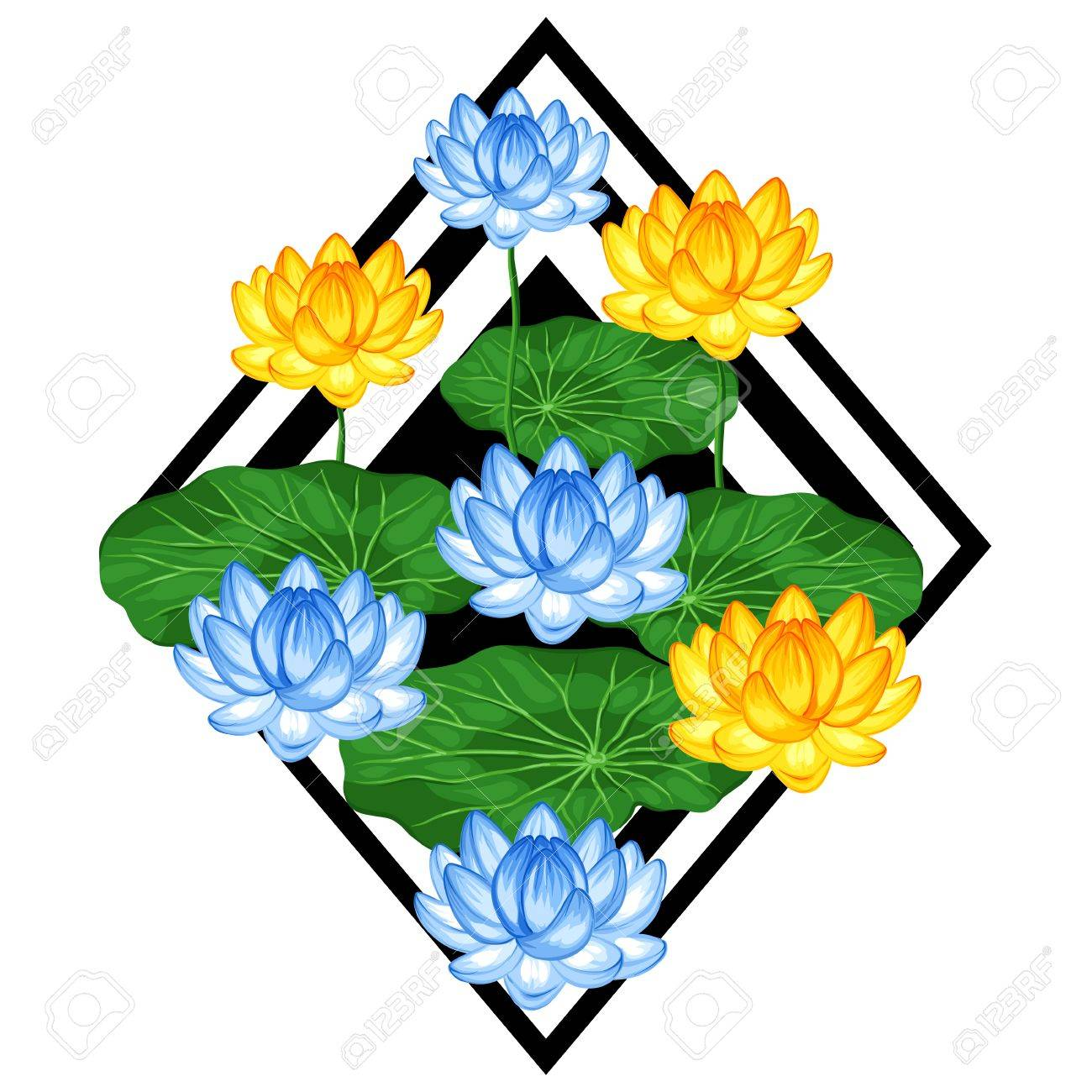 Natural background with lotus flowers and leaves image for design natural background with lotus flowers and leaves image for design on t shirts mightylinksfo