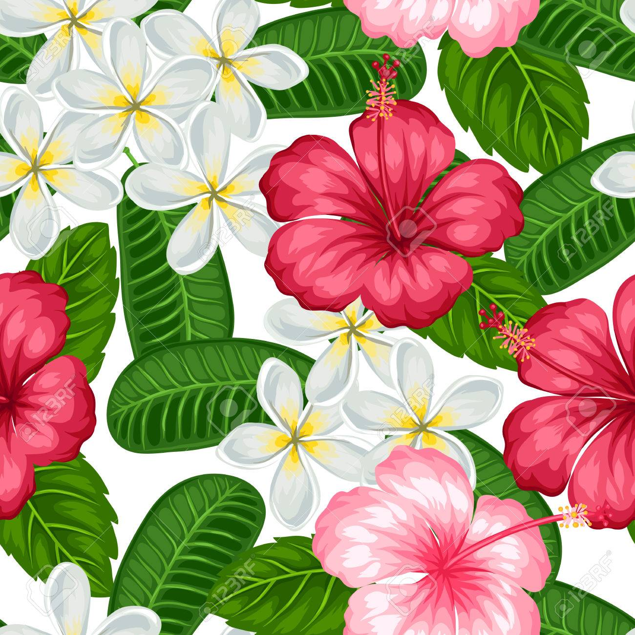 Seamless pattern with tropical flowers hibiscus and plumeria seamless pattern with tropical flowers hibiscus and plumeria background made without clipping mask easy izmirmasajfo