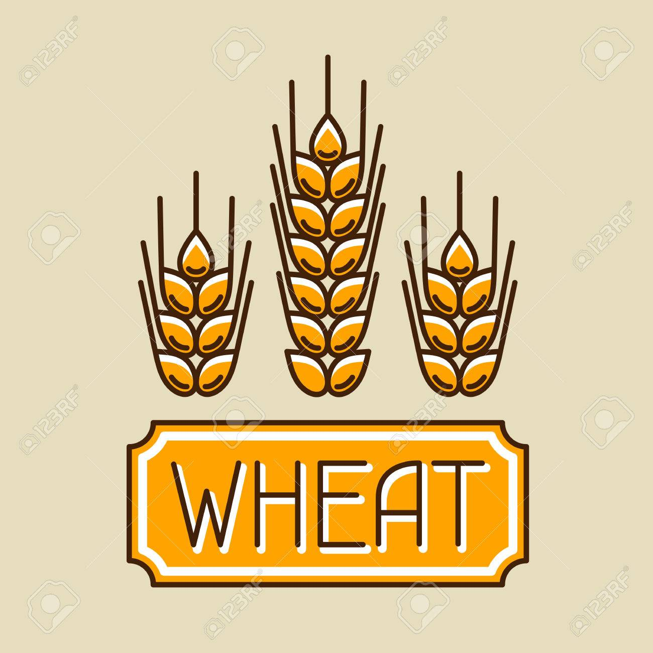 Emblem with wheat. Agricultural image natural golden ears of barley or rye. Objects for decoration bread packaging, beer labels. - 56391946