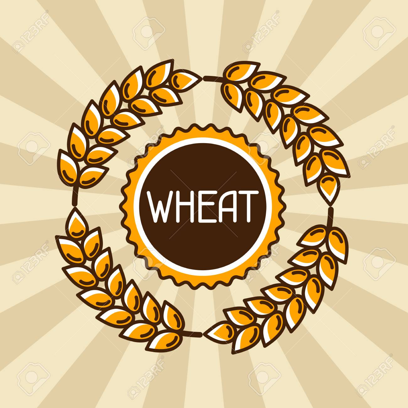 Emblem with wheat. Agricultural image natural golden ears of barley or rye. Objects for decoration bread packaging, beer labels. - 56391950