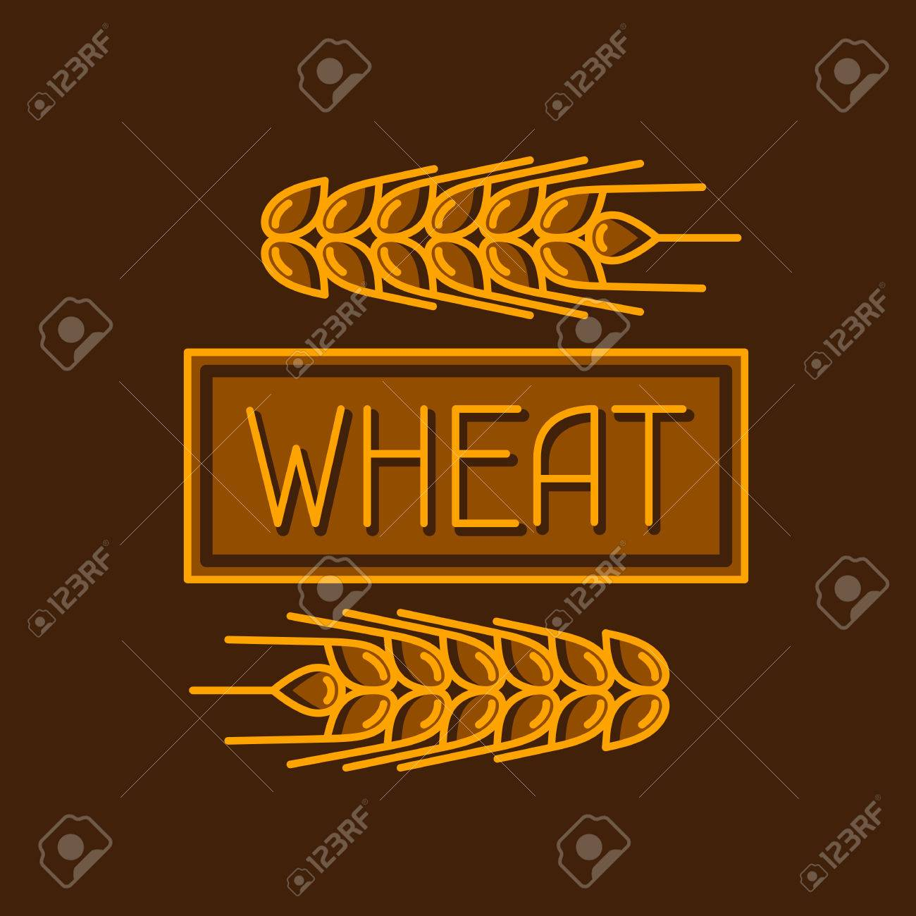 Emblem with wheat. Agricultural image natural golden ears of barley or rye. Objects for decoration bread packaging, beer labels. - 56391957