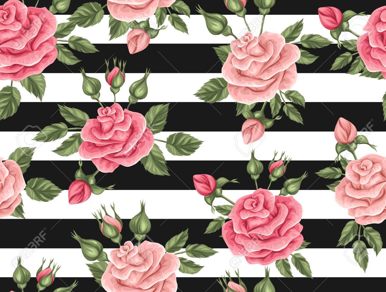 Sin Patrón Con Rosas De La Vendimia Retro Flores Decorativas