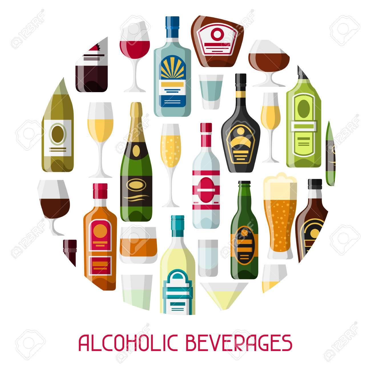 Alkoholgetränke Hintergrund Design. Flaschen, Gläser Für Restaurants ...